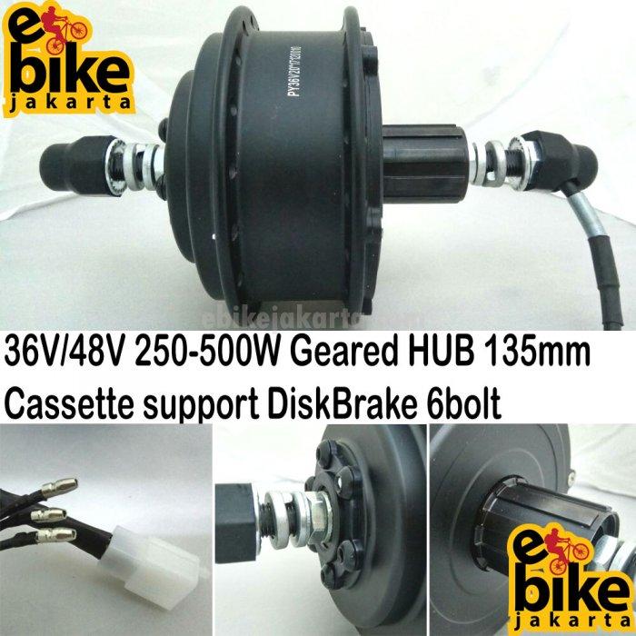 Rear HUB Geared 135mm 36V-48V 250W-350W-500W | Cassette | DiskBrake (KHH778) | KT-LED900S (C0499)