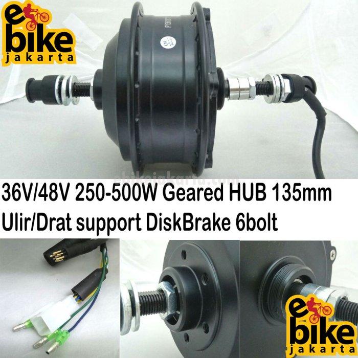 Rear HUB Geared 135mm 36V-48V 250W-350W-500W | Ulir-Drat | DiskBrake (KHH771) | KT-LCD3 (C0493)