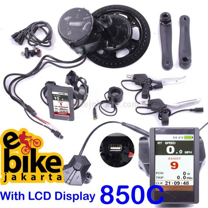 Mesin Sepeda Listrik MidDrive 8fun Bafang 48V 1000W paket 850C dan lebar BB 100mm for FatBike (KD180)